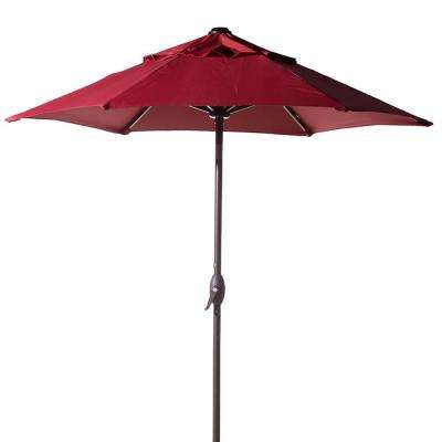 7-1/2 ft. Round Outdoor Market with Push Button Tilt and Crank Lift Patio Umbrella in Red