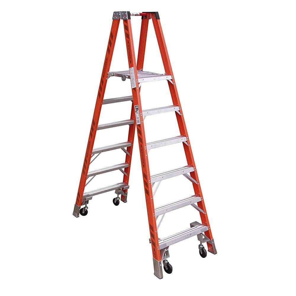 Werner 14 Ft Reach Fiberglass Platform Twin Step Ladder With Casters 300 Lb Load Capacity Type Ia Duty Rating Pt7408 4c The Home Depot