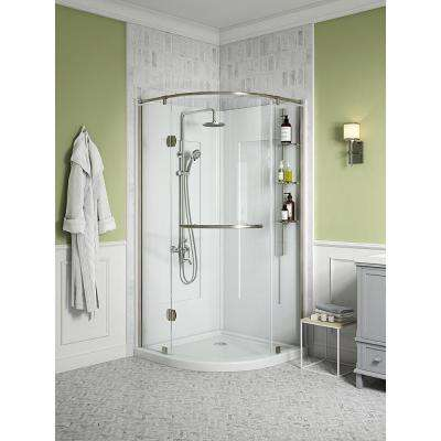 Glamour 38 in. x 77 in. Corner Drain Corner Shower Kit in White and Satin Nickel Hardware