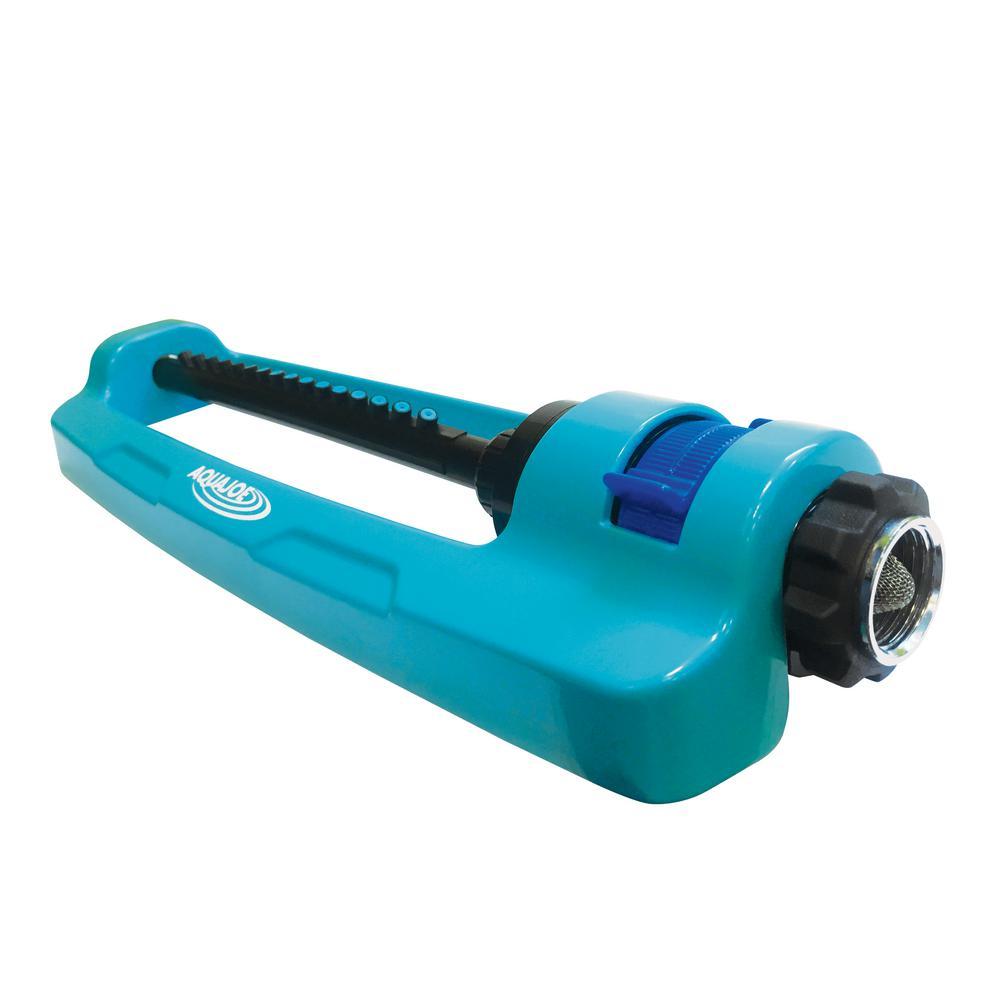 AQUA JOE Indestructible Metal Base Oscillating Sprinkler with Adjustable Spray
