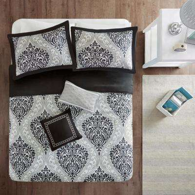 Sabrina 5-Piece Black Full/Queen Damask Duvet Cover Set