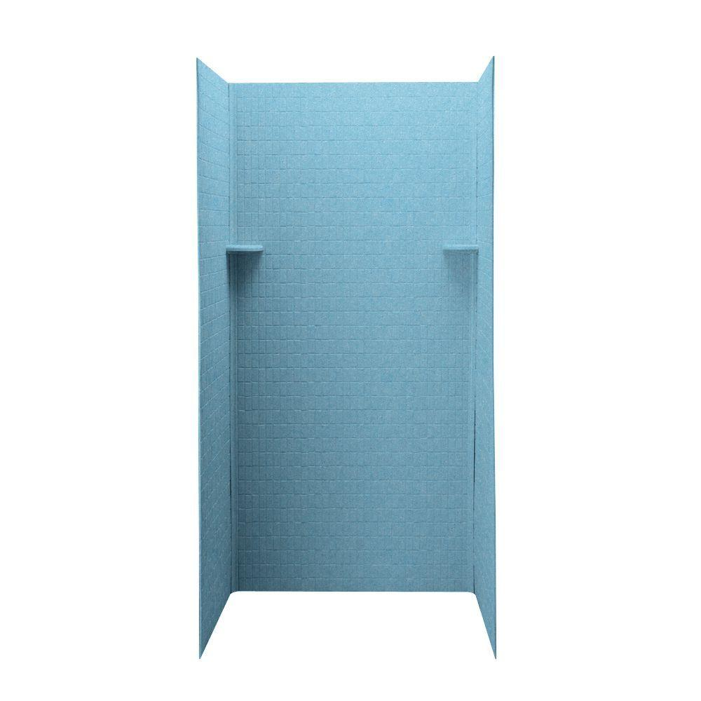Swan Tangier 36 in. x 36 in. x 72 in. Three Piece Easy Up Adhesive Shower Wall in Tahiti Blue-DISCONTINUED