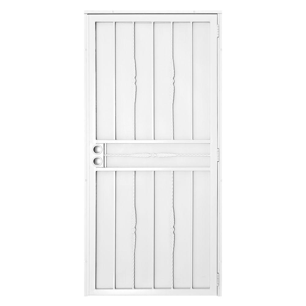 Unique Home Designs 32 in. x 80 in. Cottage Rose White Surface Mount Outswing Steel Security Door with Expanded Metal Screen