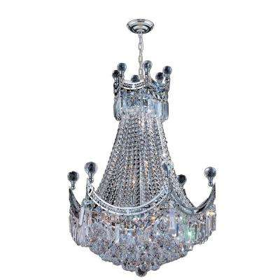 Empire 9-Light Polished Chrome Chandelier with Clear Crystal