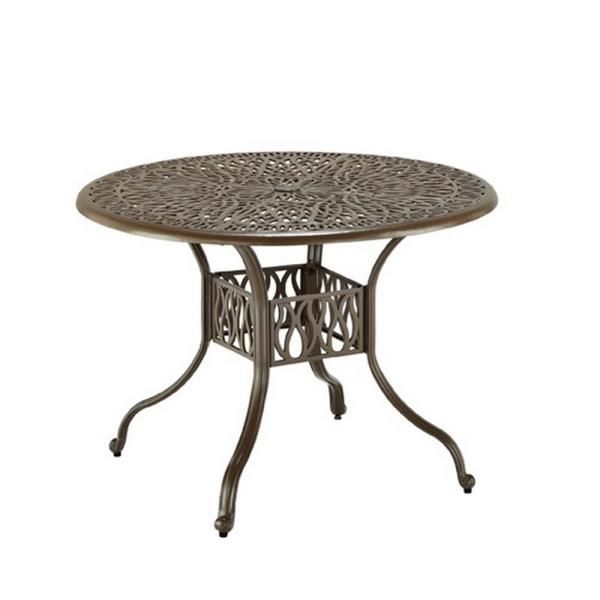 Capri 42 in. Taupe Tan Brown Round Cast Aluminum Outdoor Dining Table