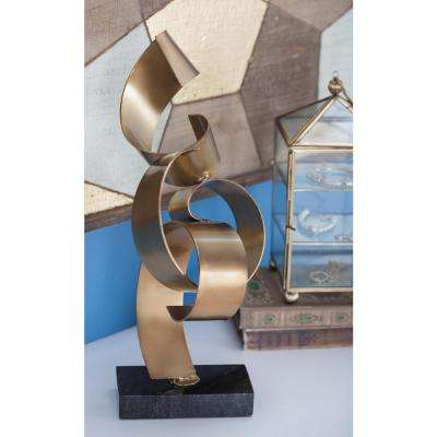 16 in. Abstract Sheets Decorative Sculpture in Gold