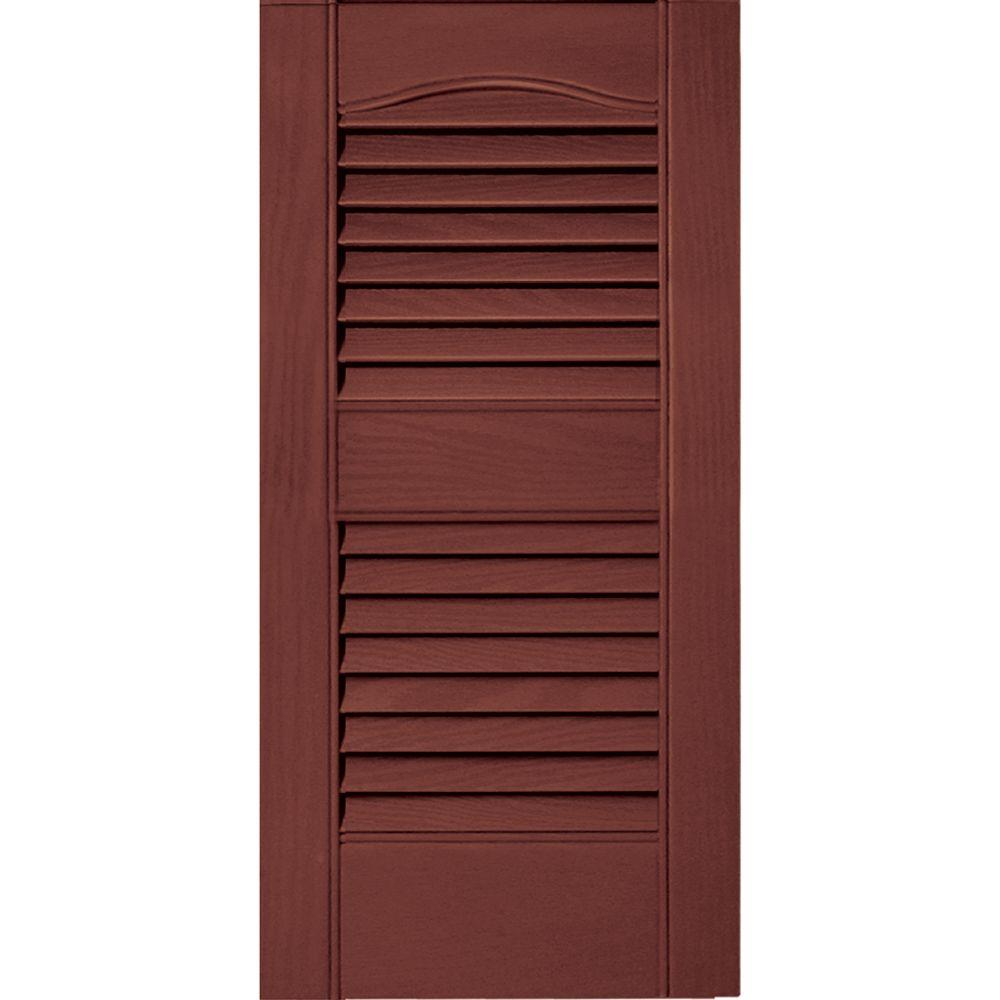 Builders Edge 12 In X 25 Louvered Vinyl Exterior Shutters