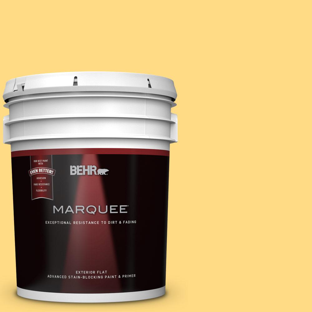 BEHR MARQUEE 5 gal. #P290-4 Spirited Yellow Flat Exterior Paint and ...