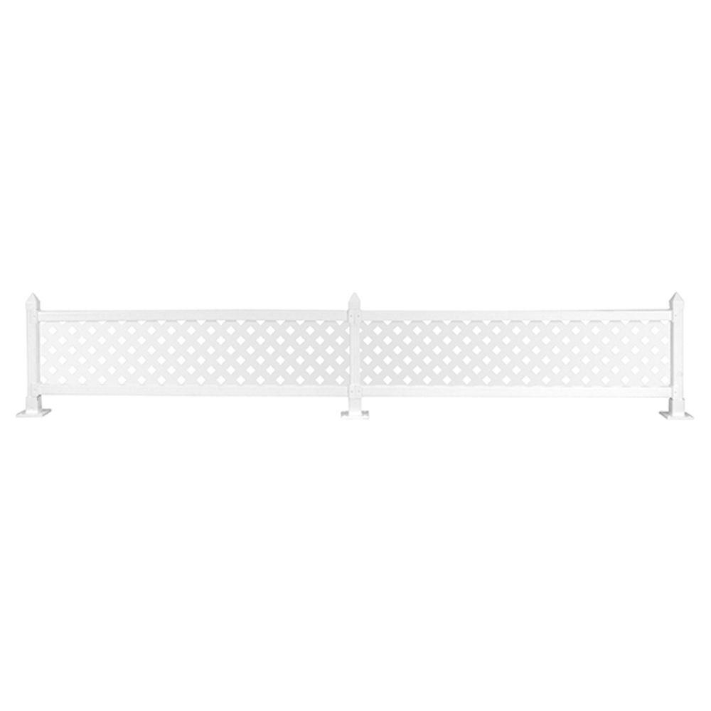 16 in. x 8 ft. White Modular Vinyl Fence Topper Starter