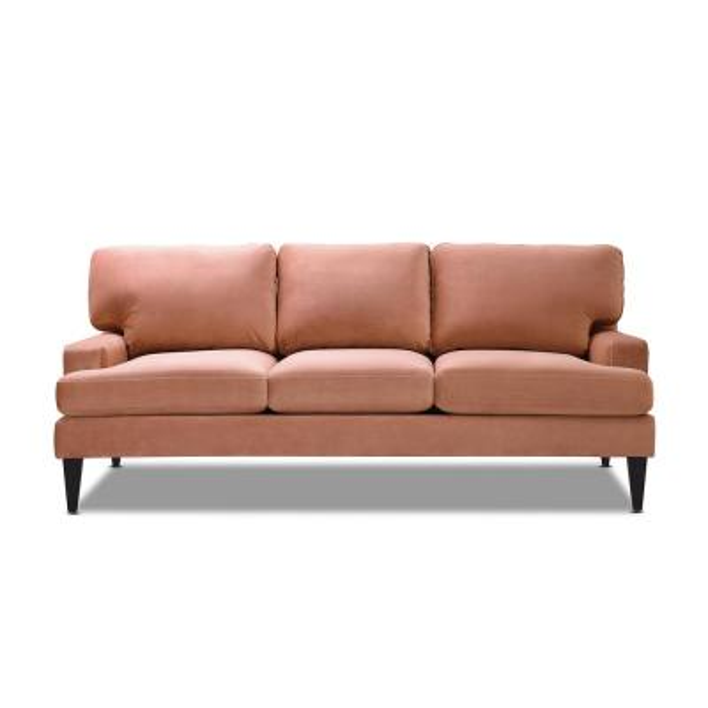 Enzo Lawson Sofa, Peach Orange Velvet