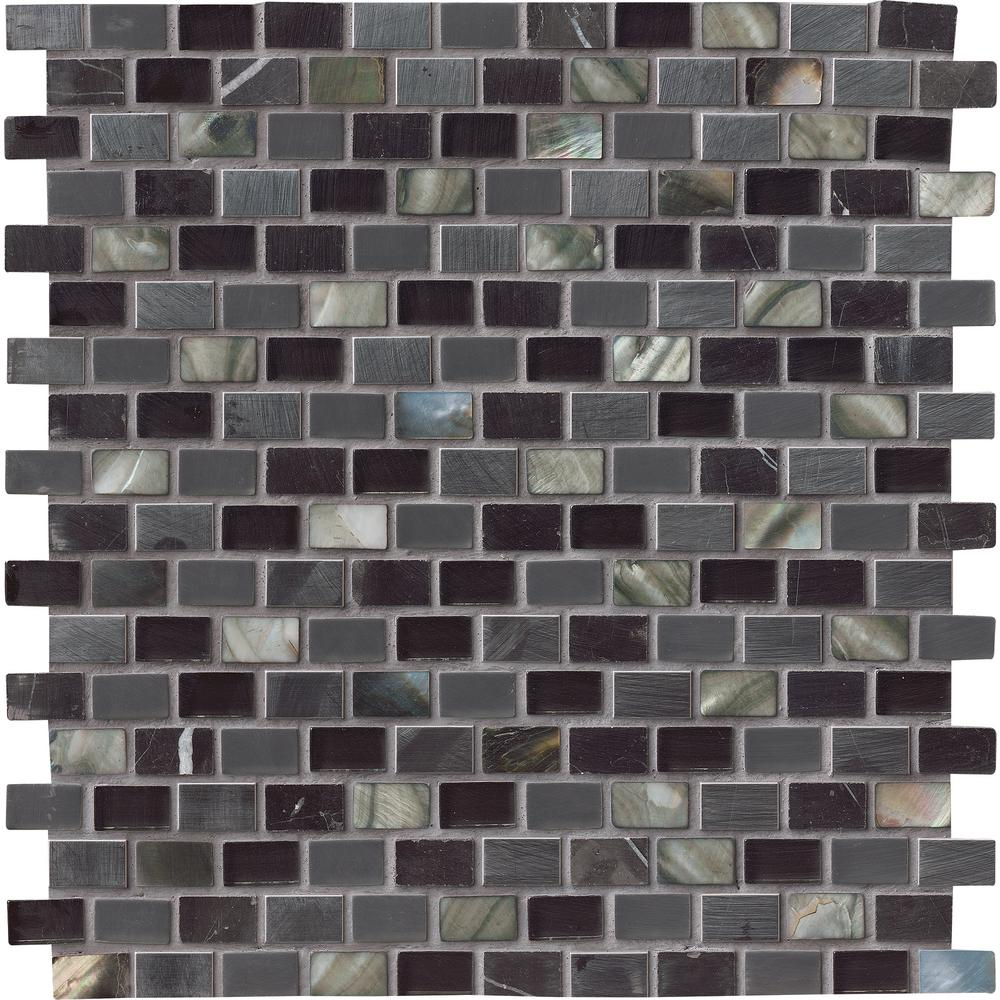 Msi Midnight Pearl 12 In X 8 Mm Gl Metal And Stone Mesh Mounted Mosaic Wall Tile Sglsmt Mnprl8mm The Home Depot