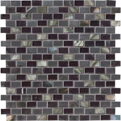 Midnight Pearl 12 in. x 12 in. x 8mm Glass Metal and Stone Mesh-Mounted Mosaic Wall Tile