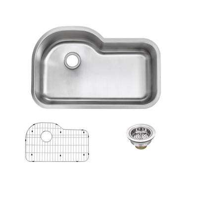 Undermount 16-Gauge Stainless Steel 32 in. Euro Style Single Bowl Kitchen Sink with Grid and Drain Assemblies