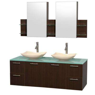 Amare 60 in. Double Vanity in Espresso with Glass Vanity Top in Green, Marble Sinks and Medicine Cabinet