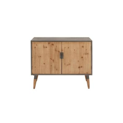 Litton Lane Light Gray and Brown Rustic Wooden Cabinet, Multi-Colored