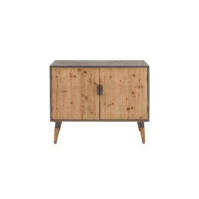 Light Gray and Brown Rustic Wooden Cabinet