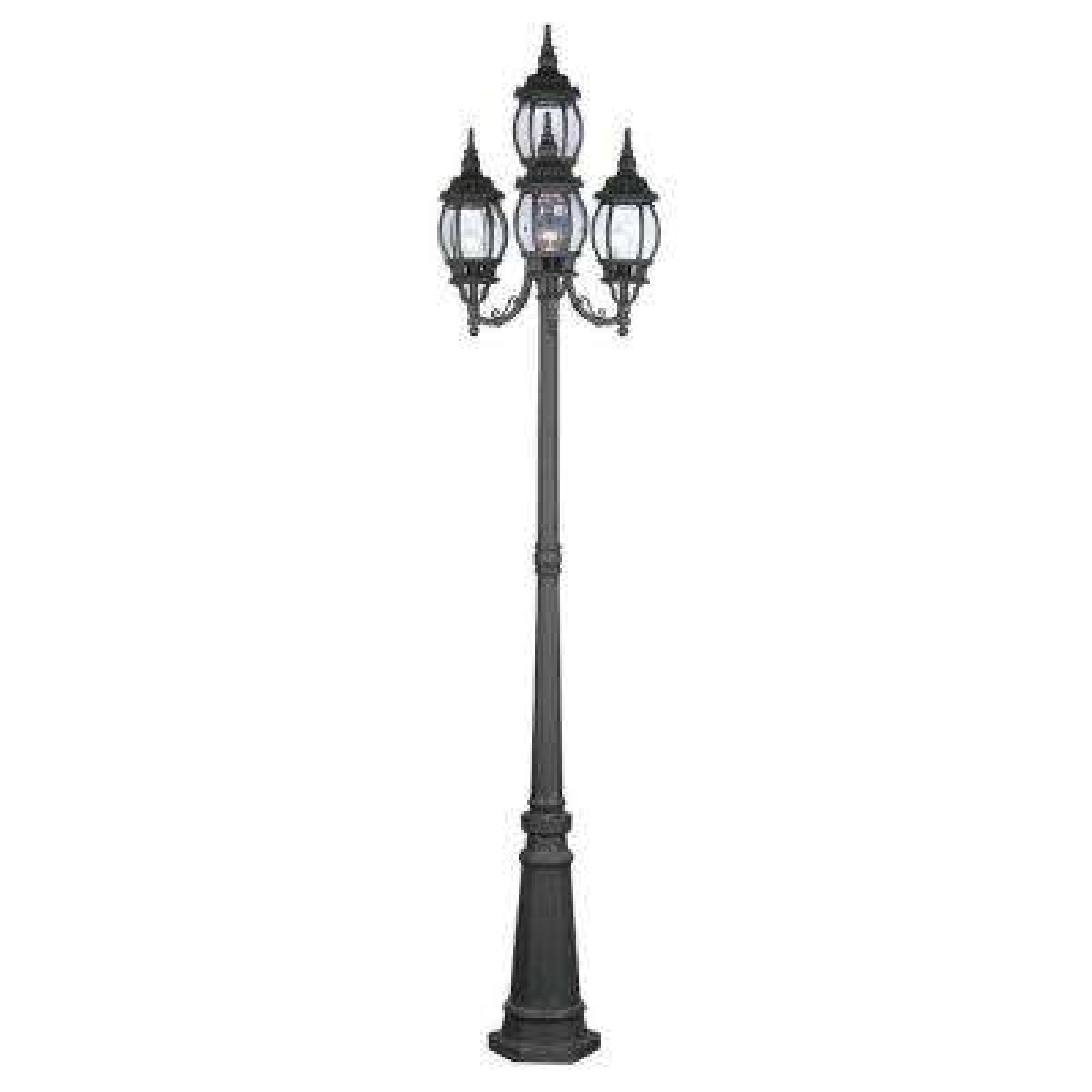 4-Light Outdoor Black Incandescent Post Lantern