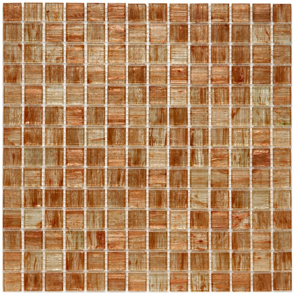 Merola Tile Coppa Tan Gold 12 in. x 12 in. x 4 mm Glass Mosaic Tile ...