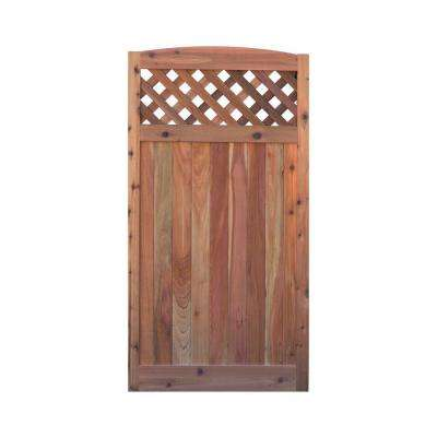 3 ft. x 6 ft. Western Red Cedar Arch Top Diagonal Lattice Fence Gate