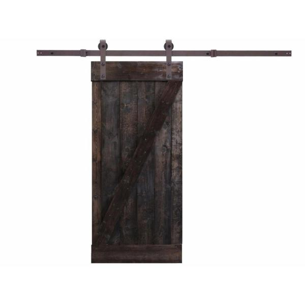 24 in. x 84 in. Primed  Dark Coffee Natural Wood Finish 6.6 ft. Sliding Barn Door with Sliding Door Hardware Kit