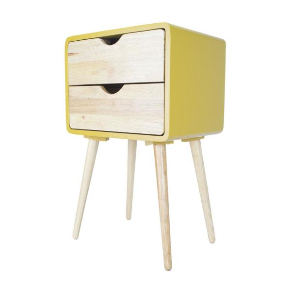 Shelly Yellow Wood End Table