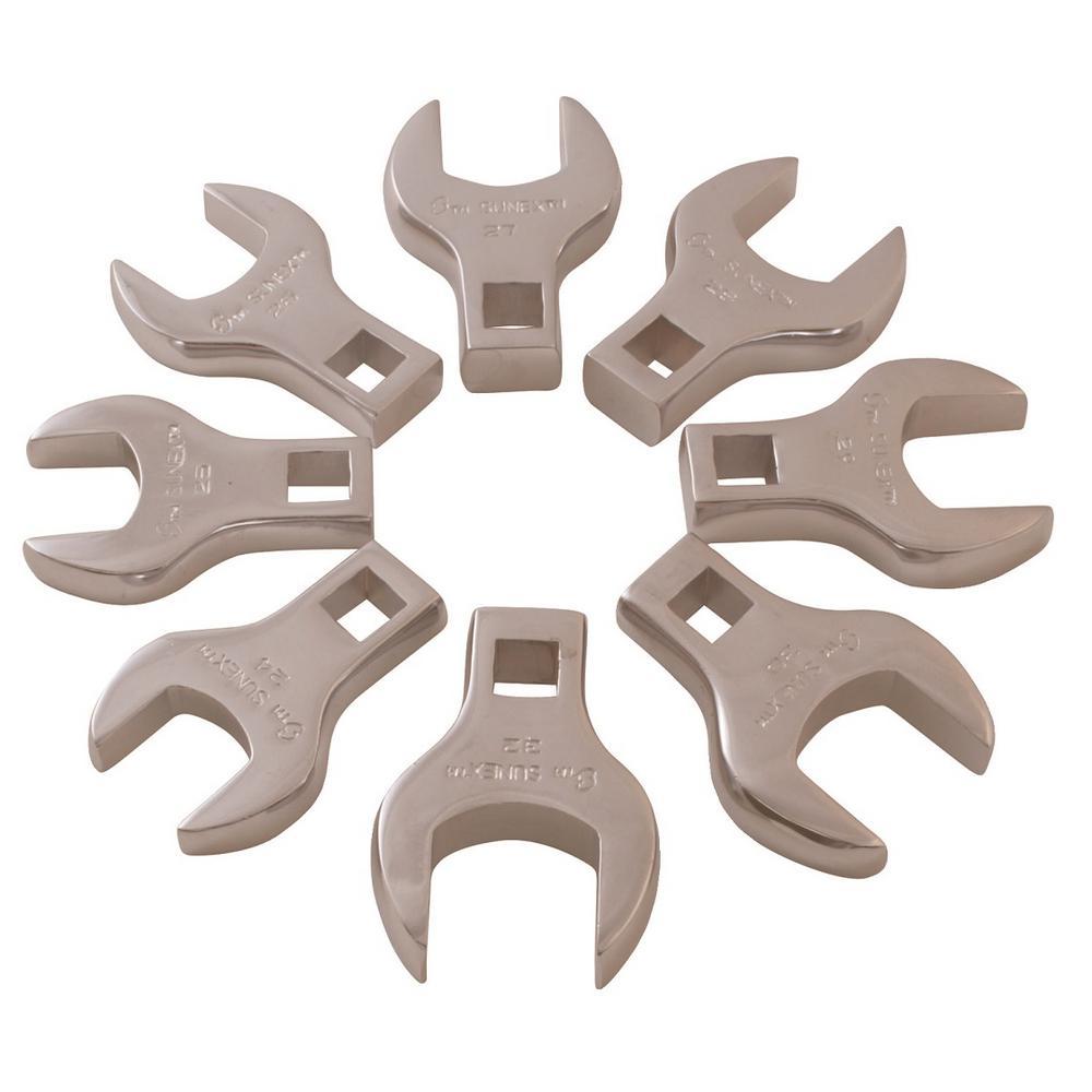 1/2 in. Drive Jumbo Metric Crowfoot Wrench Set (8-Piece)