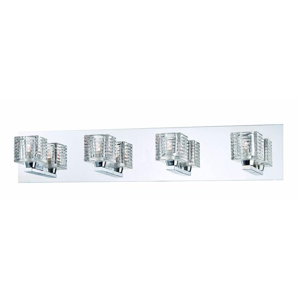 Hampton Bay Olivet 4-Light Chrome Vanity Light with Cube Glass ...