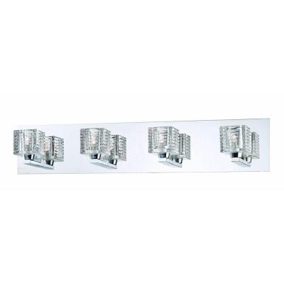 Olivet 4-Light Chrome Vanity Light with Cube Glass Shades