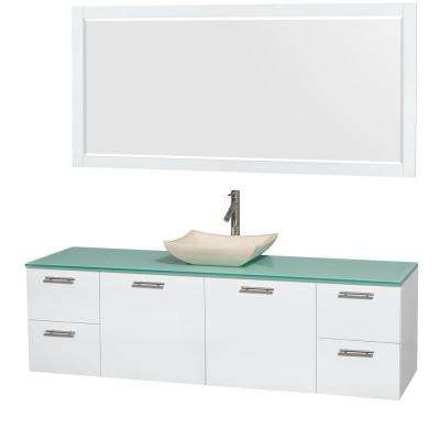 Amare 72 in. Vanity in Glossy White with Glass Vanity Top in Green, Marble Sink and 70 in. Mirror
