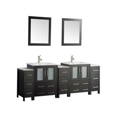 Brescia 84 in. W x 18 in. D x 36 in. H Bath Vanity in Espresso with Vanity Top in White with White Basin and Mirror