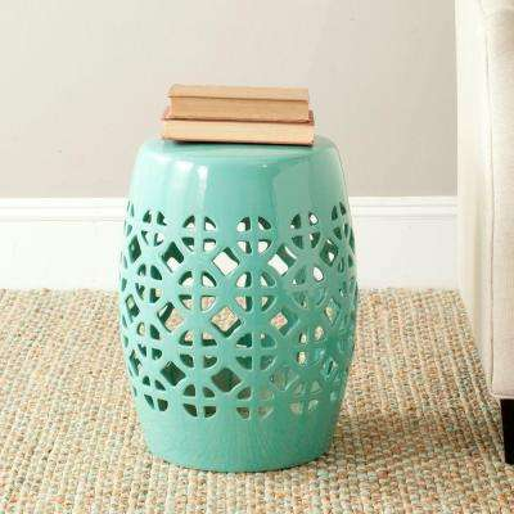 Circle Lattice Robin's Egg Blue Ceramic Patio Stool