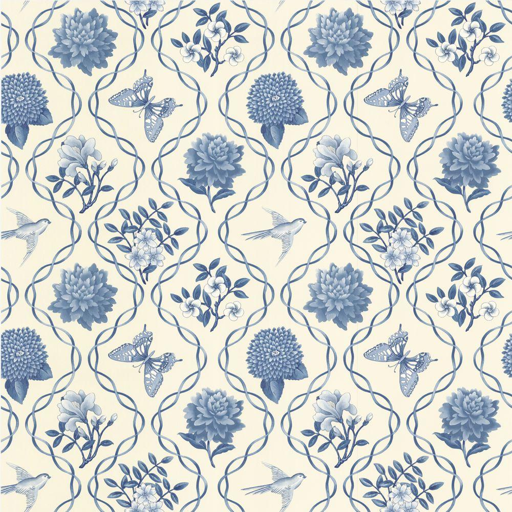 The Wallpaper Company 10 in. x 8 in. Blue Garden Theme Trellis Wallpaper Sample-DISCONTINUED