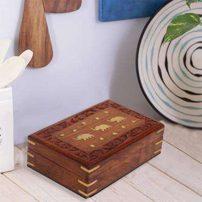 Decorative Brown Wooden Jewelry Box With Brass Elephant Inlay
