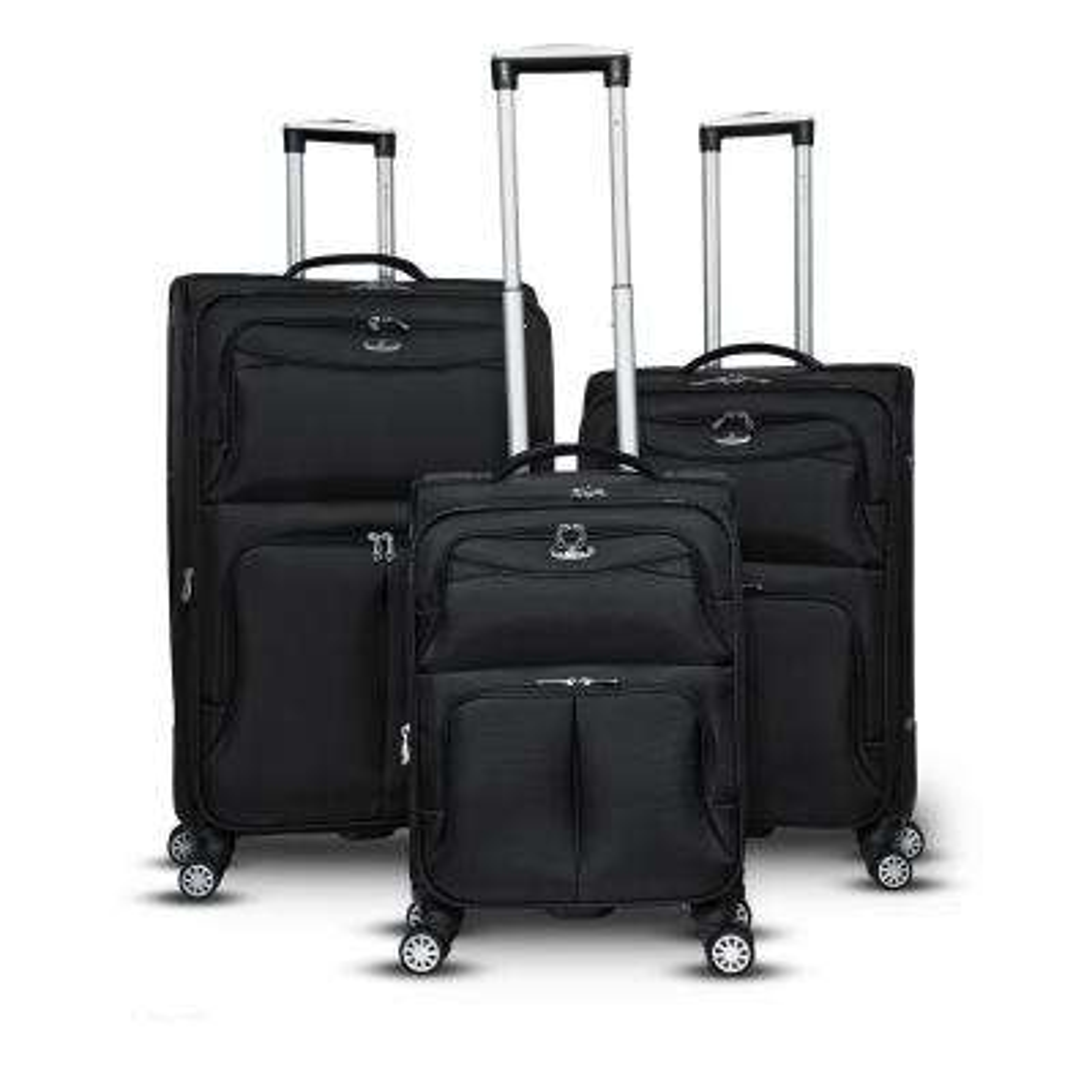 Bristol 3-Piece Black Softside Upright Spinner Luggage Set