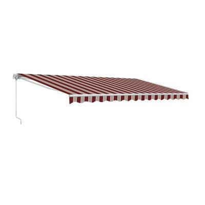13 ft. Manual Patio Retractable Awning (120 in. Projection) in Multi-Striped Red