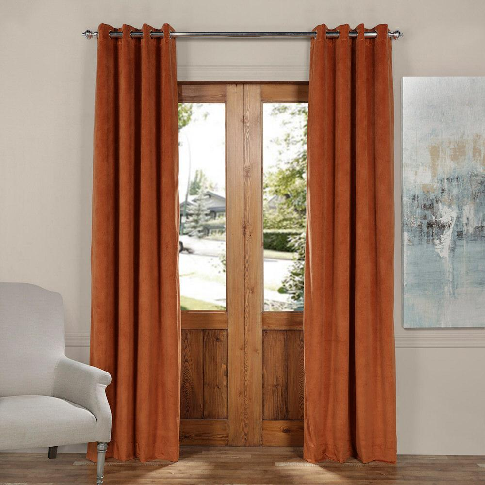Exclusive Fabrics Furnishings Blackout Signature Rusty Gate Orange Grommet Velvet Curtain 50 In W X 120 L 1 Panel Vpch 160413 Grbo