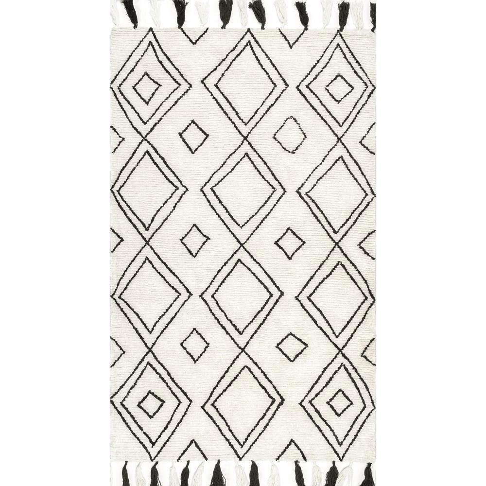 Nuloom lisha moroccan diamond tassel ivory 5 ft x 8 ft area rug