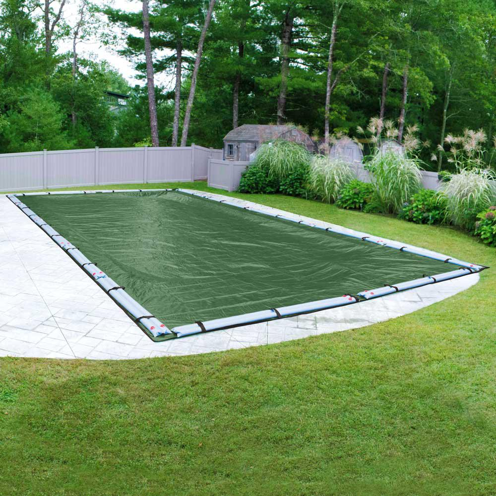 Robelle Optimum 16 ft. x 32 ft. Rectangular Green Solid In-Ground Winter Pool Cover