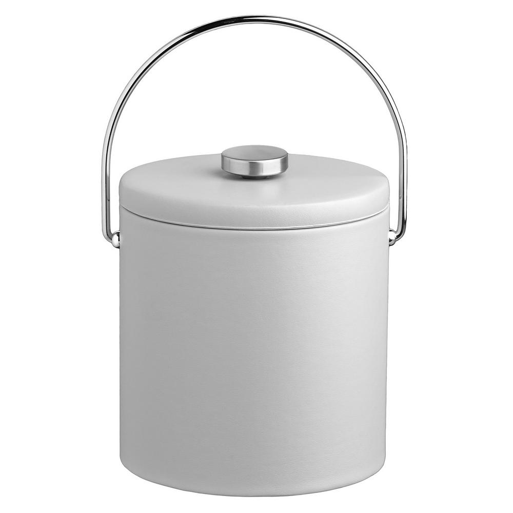 Contempo 3 Qt. White Ice Bucket with Bale Handle and Thick