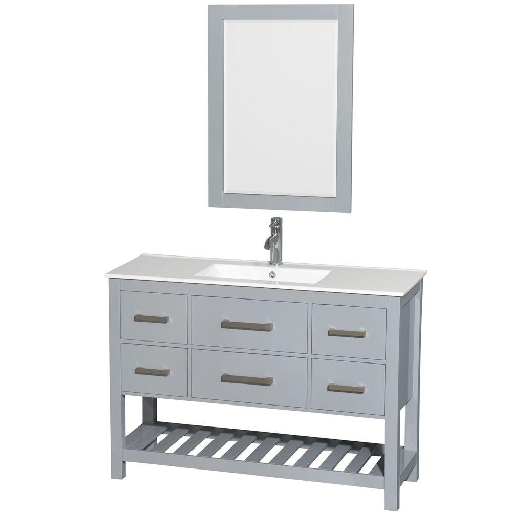 Wyndham Collection Natalie 48 in. W x 18.5 in. D Vanity in Gray with Porcelain Vanity Top in White with White Basin and 24 in. Mirror