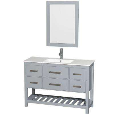 Natalie 48 in. W x 18.5 in. D Vanity in Gray with Porcelain Vanity Top in White with White Basin and 24 in. Mirror