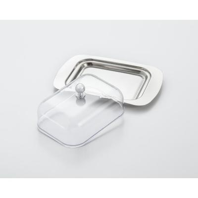 4.75 in. x 7.38 in. Stainless Steel Butter Dish with Plastic Cover