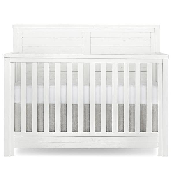 Evolur Belmar Weathered White Flat 5 in 1 Convertible Crib 884-WW