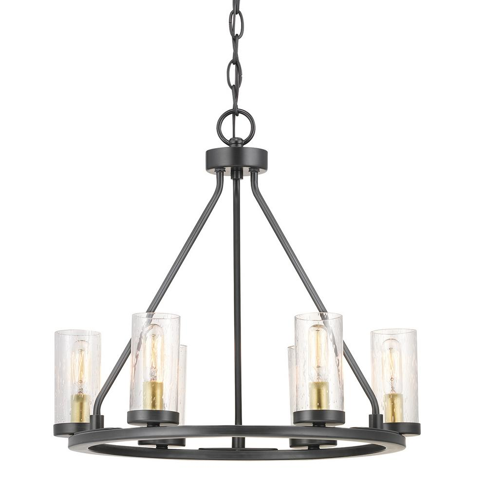 Progress Lighting Hartwell 6-Light Antique Bronze Chandelier with Natural Brass Accents and Clear Seeded Glass