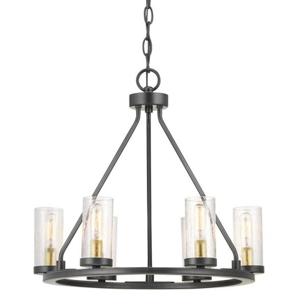 Hartwell 6-Light Antique Bronze Chandelier with Natural Brass Accents and Clear Seeded Glass