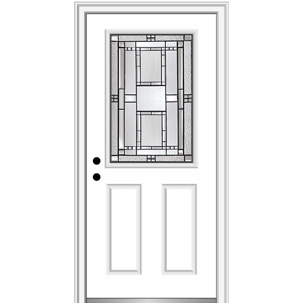 32 in. x 80 in. Metro Right-Hand Inswing Decorative 1/2 Lite 2-Panel Primed Steel Prehung Front Door on 4-9/16 in. Frame