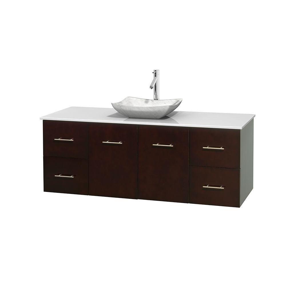 Wyndham Collection Centra 60 in. Vanity in Espresso with Solid-Surface Vanity Top in White and Sink