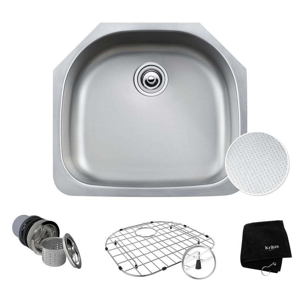 Delicieux KRAUS Outlast Microshield Undermount Stainless Steel 23.38 In. 0 Hole Basin  Single Bowl Kitchen