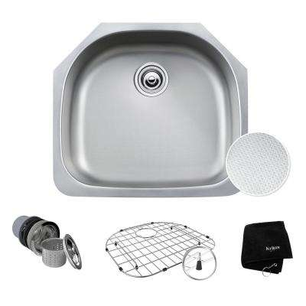 Outlast Microshield Undermount 23 in. Single Bowl Kitchen Sink Kit