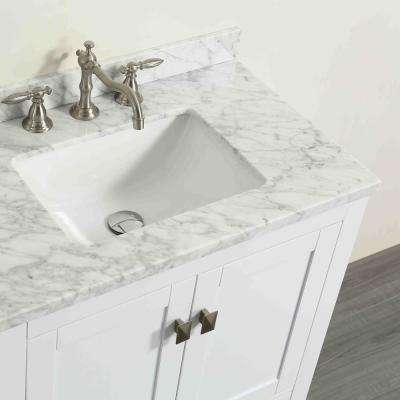 Aberdeen 29.1 in. W x 22 in. D x 35 in. H Vanity in White with Carrara Marble Vanity Top in White with White Basin